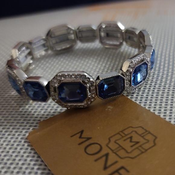 Monet blue crystal silver tone bracelet
